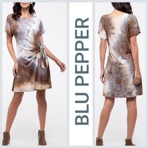 BLU PEPPER Tie-Dye Knot Front T-Shirt Dress